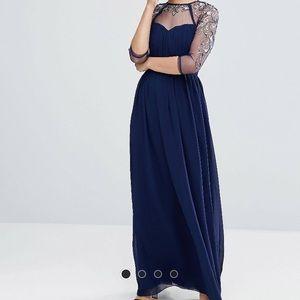 Little Mistress Long Sleeve Lace Maxi Dress